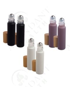 1/3 oz. Roll-on Vial: Gift of the Earth Matte Collection Glass with Metal Roller and Gold Cap (6 Count)