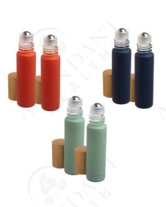 1/3 oz. Roll-on Vial: Nautical Matte Collection Glass with Metal Roller and Gold Cap (6 Count)