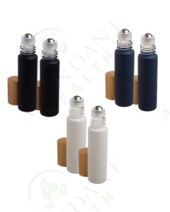 1/3 oz. Roll-on Vial: Neutral Matte Collection Glass with Metal Roller and Gold Cap (6 Count)