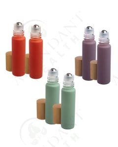 1/3 oz. Roll-on Vial: Pastel Matte Collection Glass with Metal Roller and Gold Cap (6 Count)