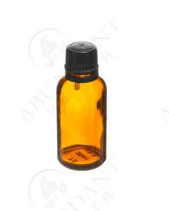 30 ml Vial: Amber Glass with Black Euro-style Cap and Orifice Reducer (6 Count)