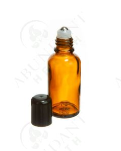 30 ml Vial: Amber Glass with SpringLock Metal Roller and Black Cap (6 Count)