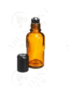 30 ml Vial: Amber Glass with Metal Roller and Black Cap (6 Count)