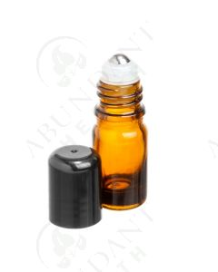 5 ml Vial: Amber Glass with SpringLock Metal Roller and Black Cap (6 Count)