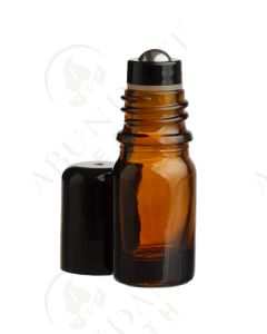 5 ml Vial: Amber Glass with Metal Roller and Black Cap (6 Count)