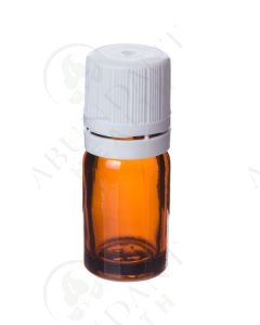 5 ml Amber Glass Vials and White Euro-style Caps with Orifice Reducers (Pack of 6)