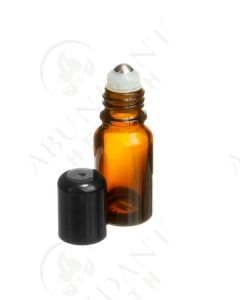 10 ml Vial: Amber Glass with SpringLock Metal Roller and Black Cap (6 Count)