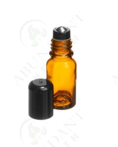 10 ml Vial: Amber Glass with Metal Roller and Black Cap (6 Count)
