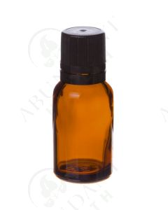 15 ml Vial: Amber Glass with Black Euro-style Cap and Orifice Reducer (6 Count)
