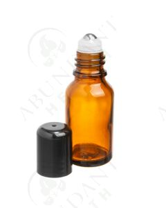 15 ml Vial: Amber Glass with SpringLock Metal Roller and Black Cap (6 Count)