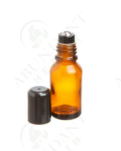 15 ml Vial: Amber Glass with Metal Roller and Black Cap (6 Count)