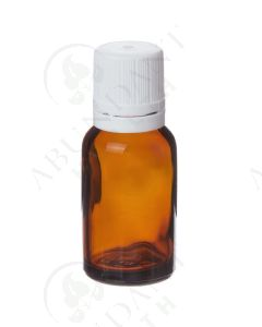 15 ml Vial: Amber Glass with White Euro-style Cap and Orifice Reducer (6 Count)