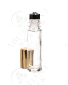 1/3 oz. Roll-on Vial: Clear Glass with Metal Roller and Shiny Gold Cap (6 Count)