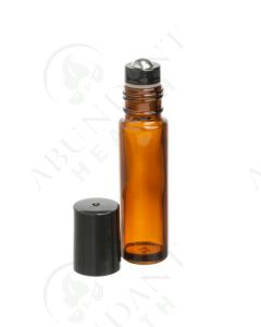 1/3 oz. Roll-on Vial: Amber Glass with Metal Roller and Black Cap (6 Count)