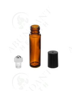 1/3 oz. Roll-on Vial: Amber Glass with SpringLock Metal Roller and Black Cap (6 Count)