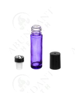 1/3 oz. Roll-on Vial: Purple Glass with Metal Roller and Black Cap (6 Count)