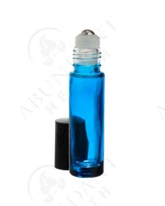 1/3 oz. Roll-on Vial: Blue Glass with SpringLock Metal Roller and Black Cap (6 Count)