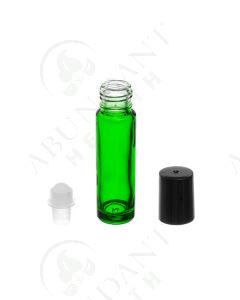 1/3 oz. Roll-on Vial: Green Glass with Black Cap (6 Count)