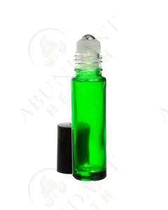 1/3 oz. Roll-on Vial: Green Glass with SpringLock Metal Roller and Black Cap (6 Count)