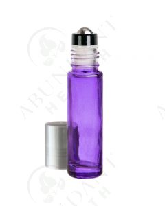 1/3 oz. Roll-on Vial: Purple Glass with Metal Roller and Silver Cap (6 Count)
