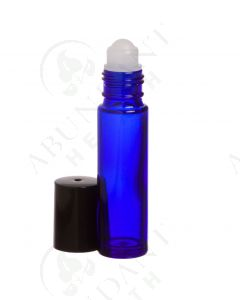 1/3 oz. Roll-on Vial: Blue Glass with Black Cap (6 Count)