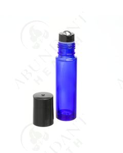 1/3 oz. Roll-on Vial: Blue Glass with Metal Roller and Black Cap (6 Count)