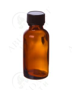 1 oz. Bottle: Amber Glass with Black Cap (6 Count)