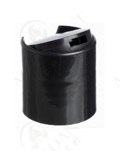 Plastic Cap: Black; Disc-top; 24-410 Neck Size