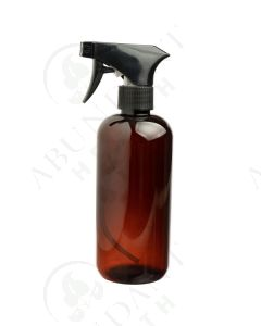 16 oz. Bottle: Amber Plastic with Black Trigger Sprayer