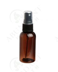 2 oz. Bottle: Amber PET Plastic Boston Round with Black Misting Spray Top