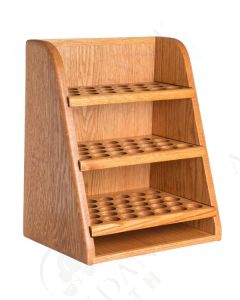 3-Shelf Storage and Display Rack: Finished Oak (Holds 79 Vials)