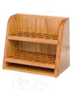 2-Shelf Storage and Display Rack: Finished Oak (Holds 46 Vials)