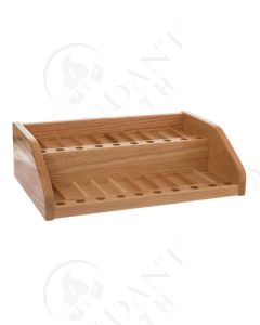 2-Shelf Retail Display and Sample Rack: Finished Oak (Holds 80 Vials)